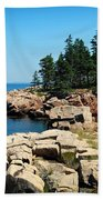 Maine's Rocky Coastline Beach Towel