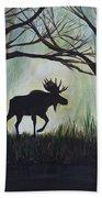 Majestic Bull Moose Beach Towel by Leslie Allen