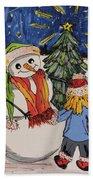 Make A Wish Snowman Beach Towel