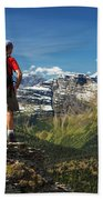 Male Hiker Standing On Top Of Mountain Beach Towel