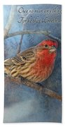 Male Housefinch With Verse Beach Towel