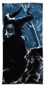 Maleficent In Winter's Woods Beach Towel