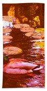 Mallard Duck On Pond 3 Square Beach Sheet