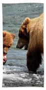Mama And Baby Grizzly Bear At The Falls Beach Towel