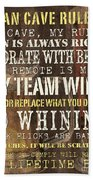 Man Cave Rules 2 Beach Towel by Debbie DeWitt