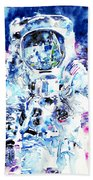 Man On The Moon - Watercolor Portrait Beach Towel