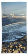 Man Overlooking Olympus Range Antarctica Beach Towel