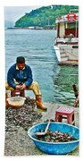 Man Selling Fresh Mussels On The Bosporus In Istanbul-turkey  Beach Towel