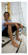 Man Smiling On Sailboat, Casco Bay Beach Sheet