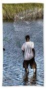 Man Throwing Cast Net Beach Towel