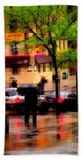 Reflections - New York City In The Rain Beach Towel