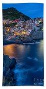 Manarola By Twilight Beach Towel