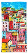 Manarola Colorful Houses Painting Detail Beach Towel