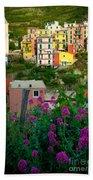 Manarola Flowers And Houses Beach Sheet