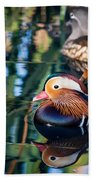 Mandarin Duck Reflections Beach Towel