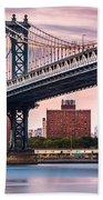 Manhattan Bridge Under A Purple Sunset Beach Towel