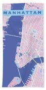 Manhattan Map Graphic Beach Towel