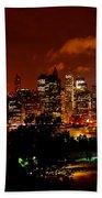 Manhattan Night Skyline Beach Towel