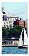 Manhattan - Sailboat Against Manhatten Skyline Beach Towel