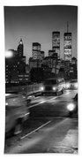 Manhattan Skyline Dusk 1980s Beach Towel