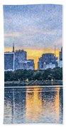 Manhattan Skyline From Central Park Reservoir Nyc Usa Beach Towel