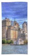 Manhattan Skyline From Hudson River Beach Towel by Juli Scalzi