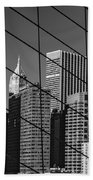 Manhattan Through The Brooklyn Bridge Beach Towel