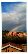 Spanish Landscape Rainbow And Ocean View Beach Towel