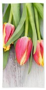 Many Spring Tulip Flowers On White Wood Table Beach Towel