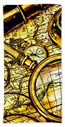 Map And Compass Beach Towel
