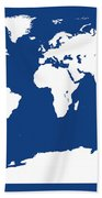 Map In Blue And White Beach Towel