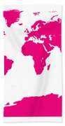 Map In Pink Beach Towel