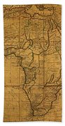 Map Of Africa Circa 1829 On Worn Canvas Beach Towel