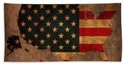 Map Of America United States Usa With Flag Art On Distressed Worn Canvas Beach Sheet