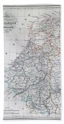 Map Of Belgium And Holland Or The Netherlands Beach Towel