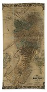 Map Of Boston 1852 Beach Towel
