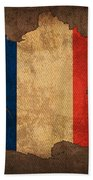 Map Of France With Flag Art On Distressed Worn Canvas Beach Towel