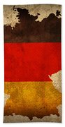 Map Of Germany With Flag Art On Distressed Worn Canvas Beach Towel