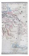 Map Of Greece Beach Towel