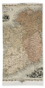 Map Of Ireland Beach Towel by C Montague
