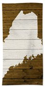 Map Of Maine State Outline White Distressed Paint On Reclaimed Wood Planks. Beach Towel