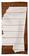 Map Of Mississippi State Outline White Distressed Paint On Reclaimed Wood Planks. Beach Towel