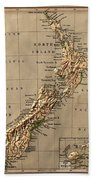Map Of New Zealand 1880 Beach Towel