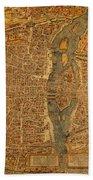 Map Of Paris France Circa 1550 On Worn Canvas Beach Towel