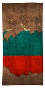 Map Of Russia With Flag Art On Distressed Worn Canvas Beach Towel