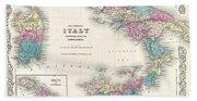 Map Of Southern Italy Sicily Sardinia And Malta Beach Towel