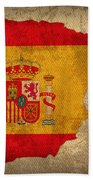 Map Of Spain With Flag Art On Distressed Worn Canvas Beach Towel