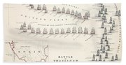 Map Of The Battle Of Trafalgar Beach Towel