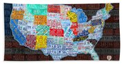 Map Of The United States In Vintage License Plates On American Flag Beach Sheet
