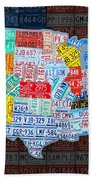 Map Of The United States In Vintage License Plates On American Flag Beach Towel by Design Turnpike